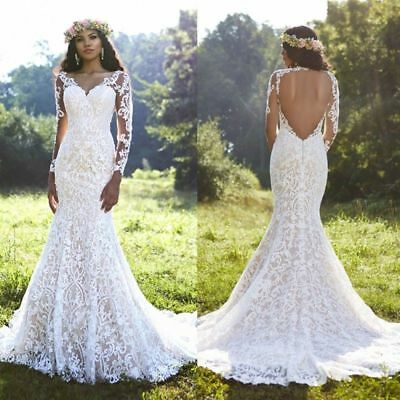 Vintage Sweetheart Lace Wedding Dress Bridal Gowns Backless Custom Long Sleeve
