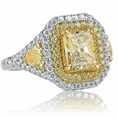 2.58 Ct Jaune Radiant Coupe Poire Bord Real Diamond Engagement Ring 18k or Blanc
