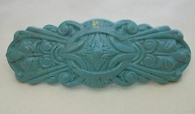 Large Blue Faux Turquoise Hair Clip Barrette Antique French Style