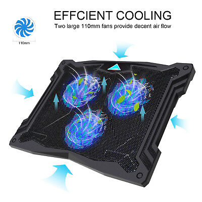 Laptop Cooler, 13''-17'' Laptop Cooling Pad with 3 Ultra-Quiet Blue LED Fans