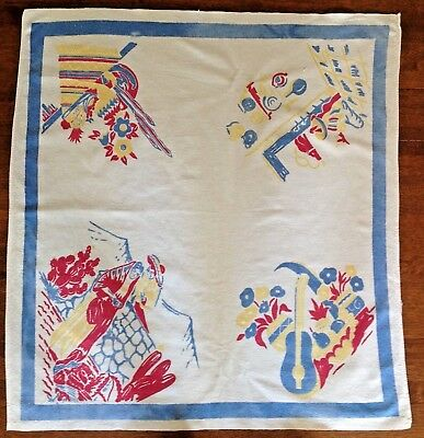 Vtg Mid Century Printed Tablecloth Mexico Cotton Linen Square