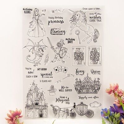 Princess and Knight Silicone Clear Rubber Stamp Cling DIY Diary Scrapbooking DE