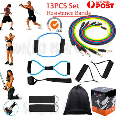13pcs Resistance Tube Set Yoga Pilates Abs Latex Exercise Fitness Workout Bands