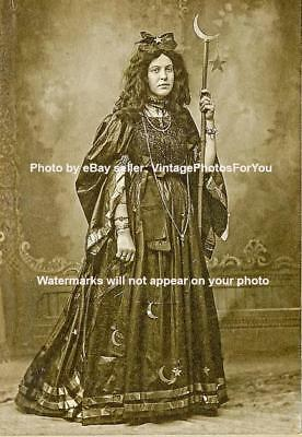 Vintage/Old/antique 1800-1900 Weird/Strange Gothic Witch Costume Burlesque Photo