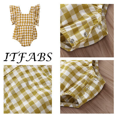 Plaid square collar lotus leaf fly sleeve even body  clothes Personalised Baby