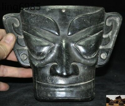 Antique China Sanxingdui culture Nickel-iron meteorite carving people head mask