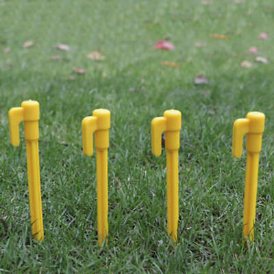 10pcs Ultralight Plastic Yellow Screw Outdoor Camping Tent Peg Stakes Nail Tool
