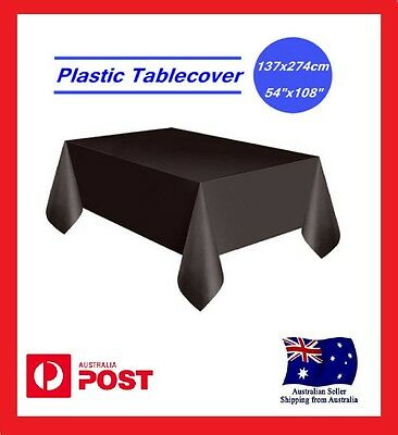 Black Rectangle Plastic Table Cloth Cover Wedding Birthday Party Tablecover AU