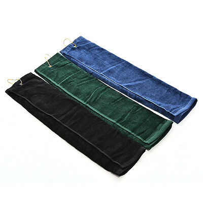 Outdoor Hiking Touch Golf Tri-Fold Towel With Carabiner Clip Cotton 40x60cmll EO