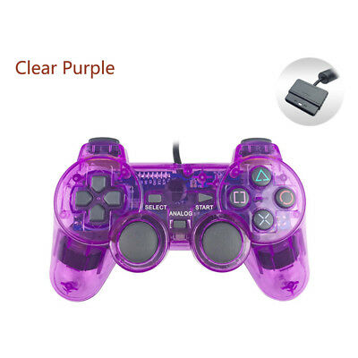 Clear purple Wired DualShock Gamepad joystick for Sony PlayStation PS2