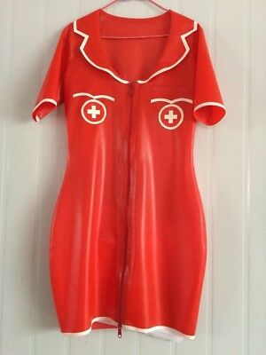 Latex Skirt 100% Rubber Club Red with White Nurse Cosplay Dress 0.4mm S-XXL