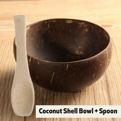 Natural Coconut Shell Bowl Bamboo Spoon Scoop Handicraft Art Work Home Decorate