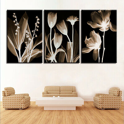 Framed Home Decor Abstract Flowers Canvas Prints Painting Wall Art Poster 3PCS
