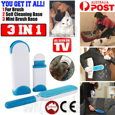 Fur Wizard Pet Hair Lint Remover Fabric Brush Clear Clothes AU STOCK+Travel Size