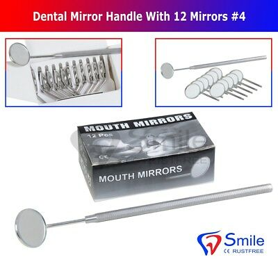 12 X Dental Mouth Mirrors Plain German SS. CE With 1 Free Mirror Handle Smile UK