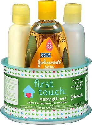 Johnson's First Touch 4 Piece Gift Set Baby Skin Care Bath Shampoo Wash Lotion