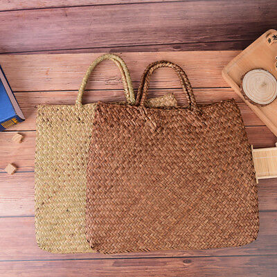summer women beach bag straw large woven handbag casual flower lady tote bag3C