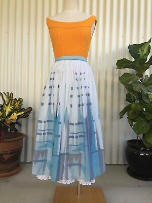 COTTON SKIRT ABSTRACT PRINT 1950's RETRO VINTAGE STYLE SIZE S