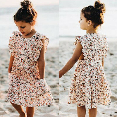 US Toddler Kid Baby Girl Clothes Ruffle Sleeve Dress Casual Tutu Floral Sundress