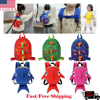 US Baby Kid Toddler Safety Harness Strap Anti-lost Leash Dinosaur Shark Backpack