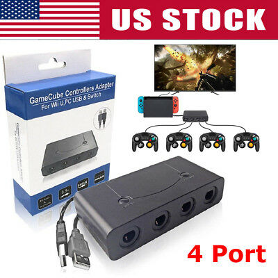 4 Port Gamecube Controller Adapter For Nintendo Wii-U & Switch and PC USB US