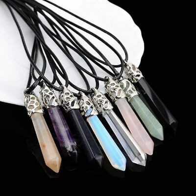 Hot Gift Natural Gemstones Pendant Chain Healing Jewelry Long Hexagonal Pointed