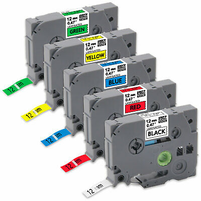 "5PK TZe231-TZe731 12mm 0.47""Compatible/Brother p-touch  Label Tape PT-D210 D600"