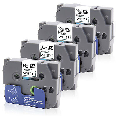 """4PK TZe241 Labeling Tape Black /White18mm 0.75"""" Compatible Brother P-touch PT300"""