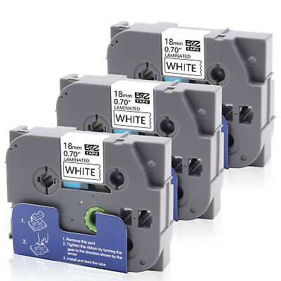 """3PK TZe241 Label Tape Black /White18mm 0.7"""" Compatible Brother P-touch PT-1890C"""