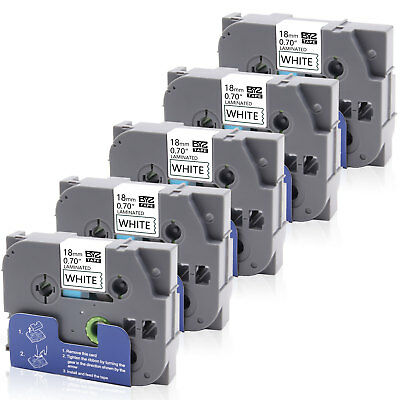 """5PK TZe241 Label Tape Black /White18mm 0.7"""" Compatible Brother P-touch PT-1890C"""