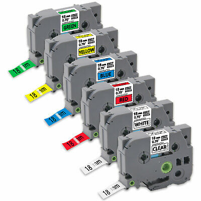 6PK TZe141-TZe741 Compatible Brother 18mm colorful Label Tape p-touch PTD210