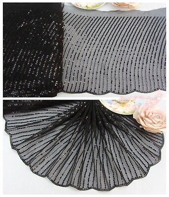 "9""*1Y Embroidered Floral Tulle Lace Trim~Sequined~Black~Shining Beauty~Gorgeous~"