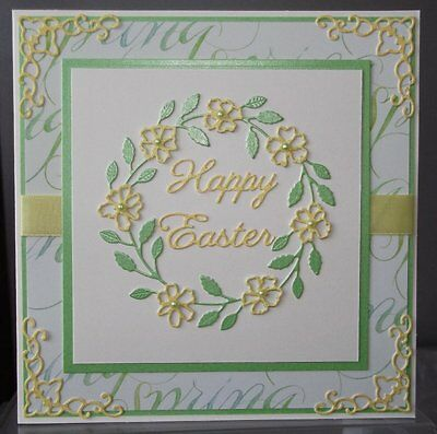Handmade Marked Down Floral Easter Card With A Spring Wreath Design