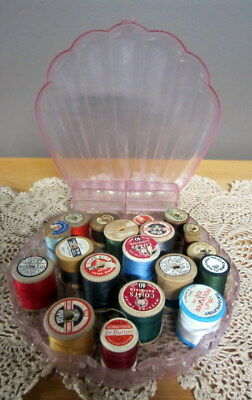 Vintage sewing box - shell shape - with wooden cotton reels - craft