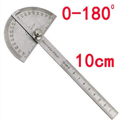 Stainless Steel Rotary Protractor Angle Measuring Rule Gauge Machinist Tool NEW