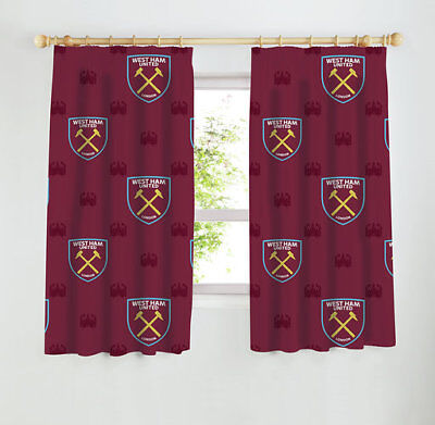 West Ham United F.c. Football Club 66 X 54 Inch Curtains For Boys Girls Bedroom
