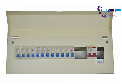 18 Way (16Usable) Metal Consumer Unit With 100A Main Switch & 12 MCB's