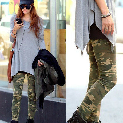 BDF0 Ladies Womens Camouflage Army Print Stretch Slim Skinny Casual Leggings