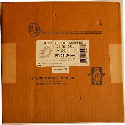 """Basset DS100-1-24G Perforated Duct Strapping 24 GA Galvanized 3/4"""" x 100 Ft Roll"""
