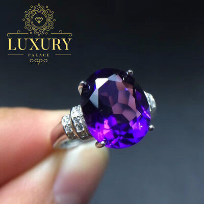 Natural Amethyst 5 Carat Gem Solid 925 Sterling Silver Beautiful Ring for Women