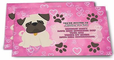 Pug Personalised Girls Birthday Party Invitations 2 50 Picclick Uk