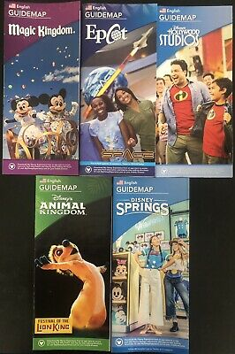 NEW 2018 Walt Disney World Theme Park Guide Maps - 5 Current Maps Free Shipping!