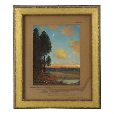 """""""New Moons"""" Antique Oil Landscape Painting by Frank Russell Green circa 1922"""