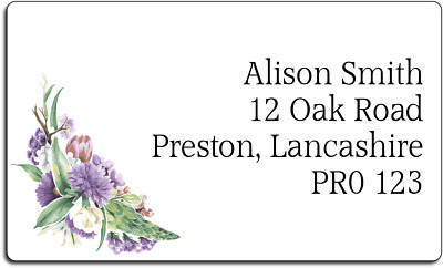 Vintage Purple Floral Style Personalised Labels with FREE protective wallet