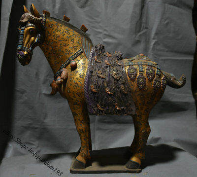 "20"" Chinese Old Tang Sancai Porcelain Pottery Painted Dynasty Horses Sculpture"