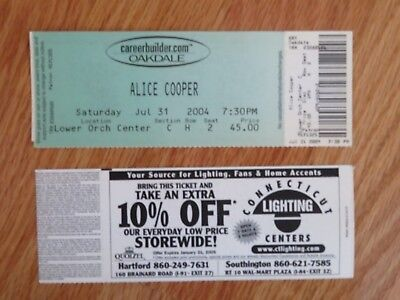 UNUSED ALICE COOPER July 31, 2004 OAKDALE Ticket BILLION DOLLAR BABIES