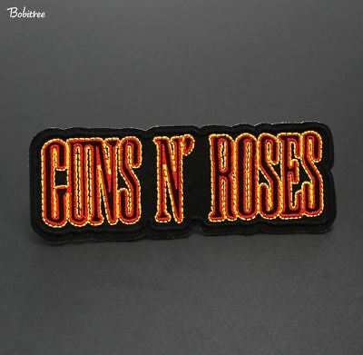GUNS N ROSES Badge Embroidered Iron On Applique Patch Band Music Punk Rock