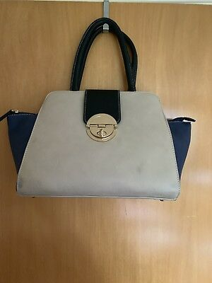 New Look cream & blue bag with gold detail - great condition!