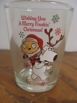 Family Guy Shot Glass - 2018 - Stewie in Santa Outfit with Brian w/ Antlers