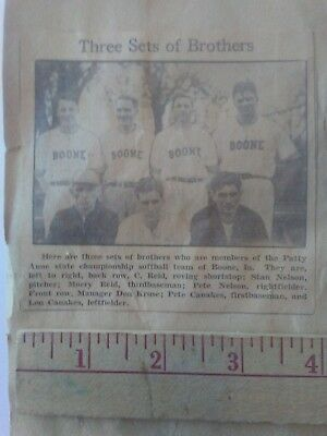 Boone Iowa Newspaper Clipping Softball Team Des Moines Area State  Championship